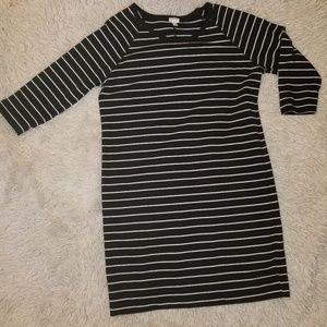 Merona Black and White 3/4 Sleeve Dress Xxl
